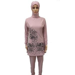Image 3 - Haofan 2018 plus size muçulmano banho de banho feminino modesto floral impressão cobertura completa maiô islâmico hijab islam burkinis banho