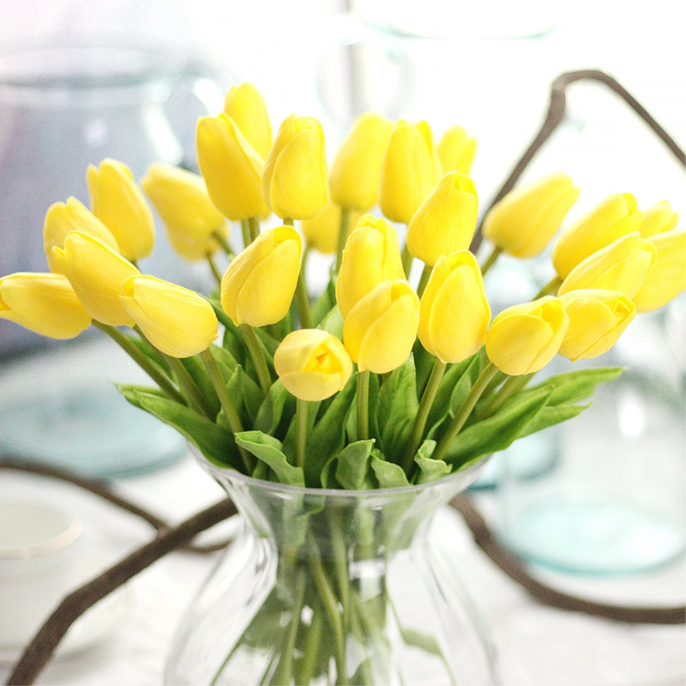 12pcslot Artificial Pu Pretty Flower Bouquet Bright Yellow Tulip