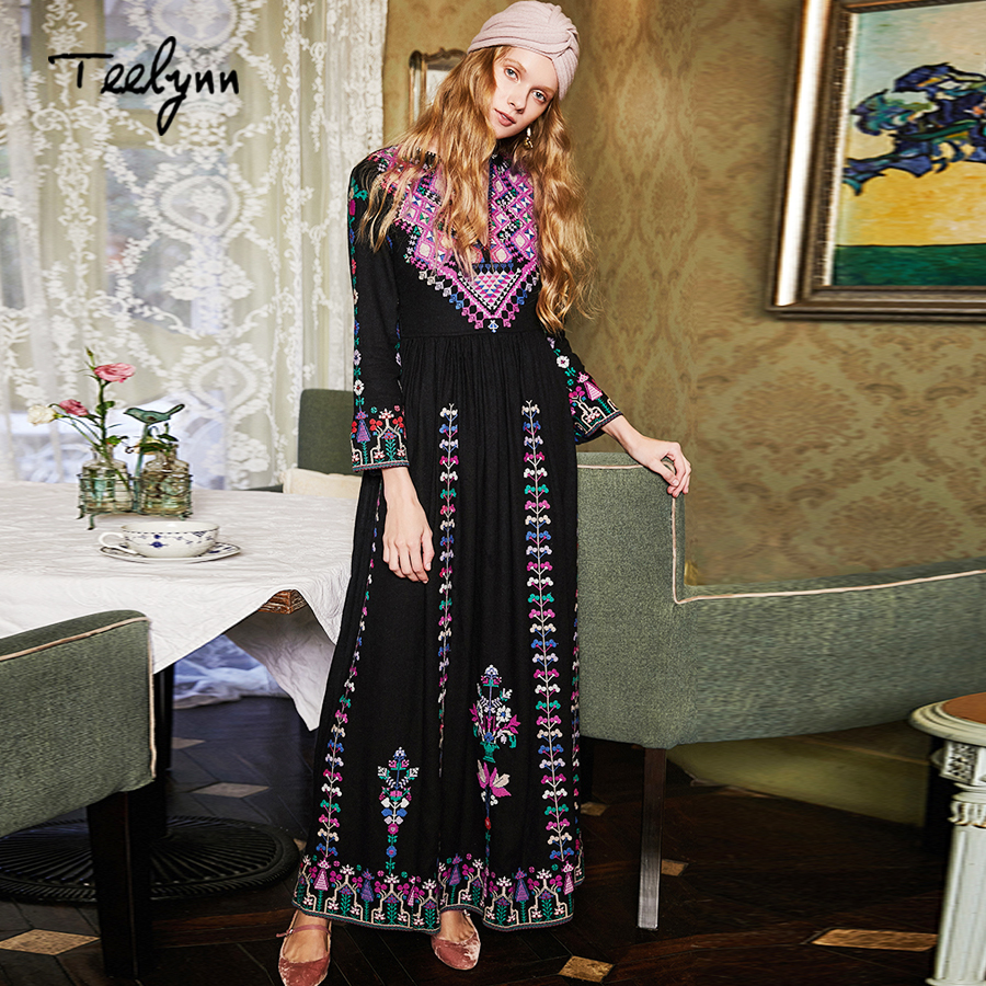 TEELYNN boho long dresses 2018 autumn Ethnic floral Embroidery rayon dresses v neck chic dresses brand