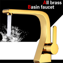 Basin Faucet Total Brass Bathroom Sink Mixer Tap Hot & Cold Faucet Deck Mounted Lavatory Basin Tap Unique design Water Crane free shipping wholesale single lever basin mixer tap with deck mounted bathroom basin faucet of hot cold basin sink water faucet