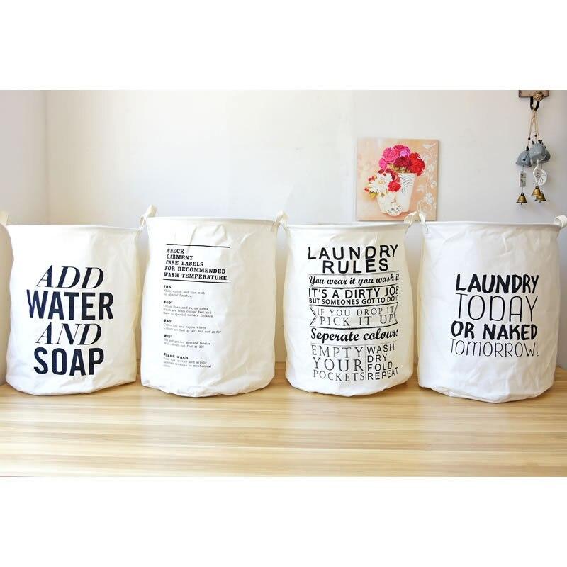 Cotton Linen English Letter LAUNDRY Barrel Folding Waterproof sundry Clothing Baskets Baby Storage Bags Organizer