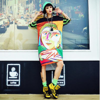 2016 Vestidos T Shirt Dress Summer Plus Size Women Dress Print Short Sleeve Dance Long Dresses