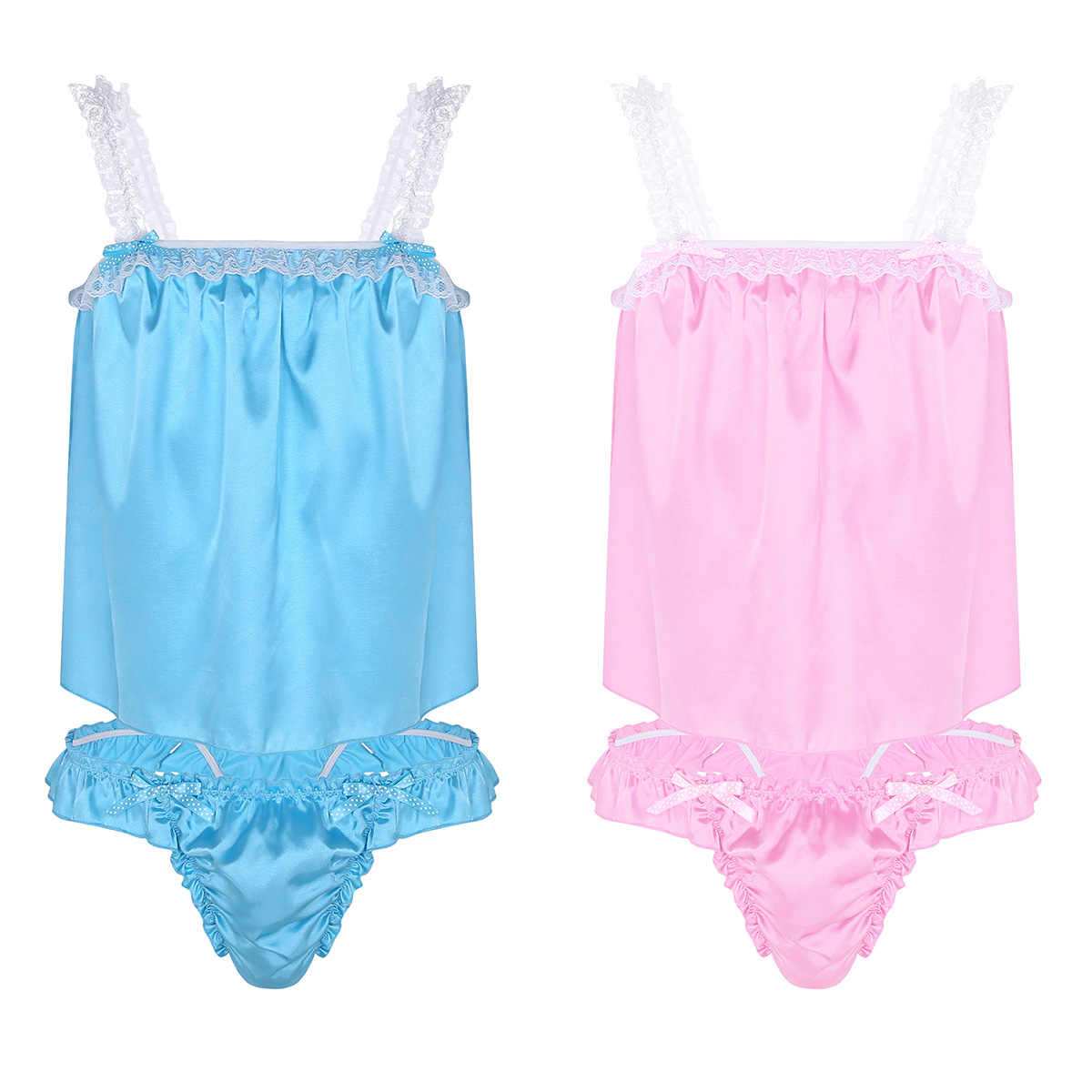 ... Mens Sexy Lingerie Set Shiny Satin Tops with Ruffled Bikini Briefs  Underwear Nightwear Sleepwear Bedtime Sissy ...