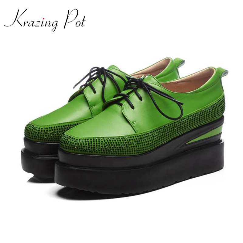 Krazing Pot kid suede shoes women square toe beading women pumps wedges superstar waterproof crystal diamond increased shoes L22 fashion sheep suede tassel casual shoes square toe slip on women pumps wedges superstar flowers preppy style increased shoes l01