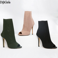 Booties Womens Shoes Green Elastic Knit Sock Boots Ladies Open Toe High Heels Fashion Kardashian Ankle Boots Women Pumps