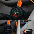 2017 new 3 in 1 12V 24V Car Interior Thermomenter Temp USB Charger Voltage Gauge Meter New Dropping Shipping
