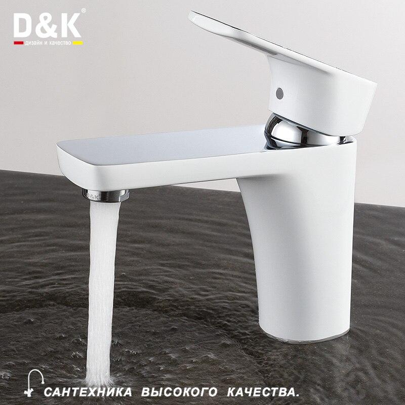 D & K Rubinetti del Bagno Bacino Bianco Rubinetto Monoforo Per Lavabo In Ottone cartuccia di Ceramica lavello annata acqua Miscelatori DA1432116