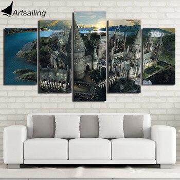 HD с 5 шт холсте Гарри Поттер школы Хогвартс картины настенные панно для гостиной современный Бесплатная доставка/NY-7108B >> Artsailing Paintings Store
