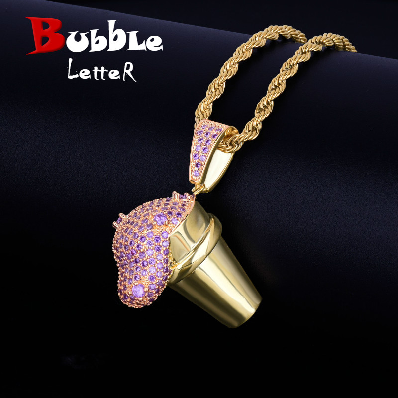 Gold Color Cup Drank Iced Pendant Men's Necklace Free Steel Rope Chain Cubic Zircon Hip hop Jewelry For Gift