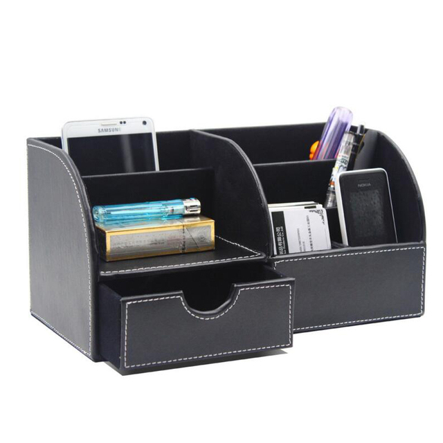 6 Blocks Holder Multifunctional Pu Leather Office Desk Organizer Desktop Stationery Storage Box Pen Supplies