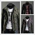 Envío gratuito 2015 nueva delgada Top Sexy diseñado Mens Jacket Coat jaqueta masculina color : negro, verde del ejército, gris