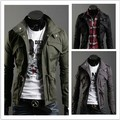 Freeshipping 2015 New Slim Sexy Top Designed Mens Jacket Coat jaqueta masculina Colour:Black,Army green,Gray