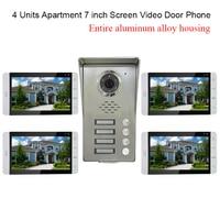 4 Đơn Vị Apartment hệ thống intercom Video cho Door Phone Intercom Kit tất cả Nhôm Hợp Kim Máy Ảnh 7