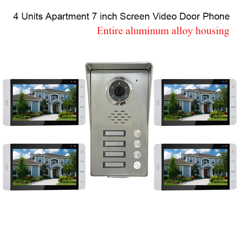 4 Units Apartment intercom system Video Door Phone Intercom Kit all Aluminum Alloy Camera 7 LCD Touch Monitor video Doorbell apartment video intercom system 6 units video door phone kit 7 inch monitor for apartment video interphone