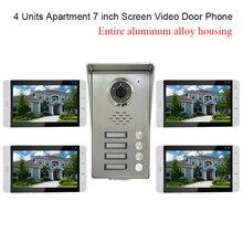 4 Units Apartment intercom system Video Door Phone Intercom Kit all Aluminum Alloy Camera 7 LCD