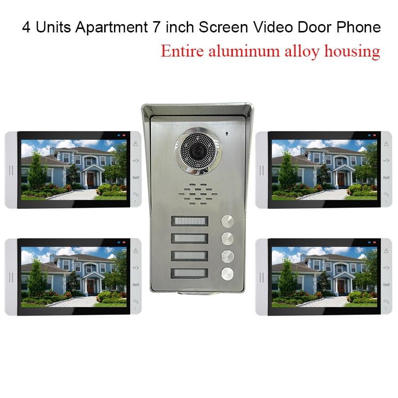 4 Units Apartment intercom system font b Video b font Door Phone Intercom Kit all Aluminum