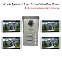 4 Units Apartment intercom system Video Door Phone Intercom Kit all Aluminum Alloy Camera 7″ LCD Touch Monitor video Doorbell