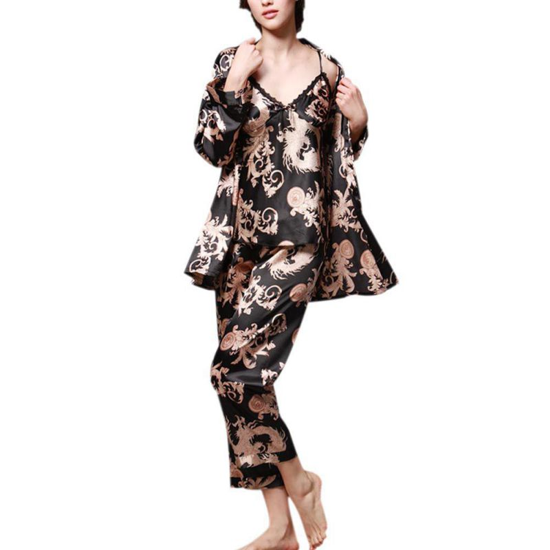 Women Autumn 3 Pcs Robe Fashion Ladies Sleep Lounge Dragon Print Night Shirt Pants Pajama Sets H7