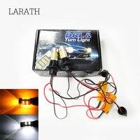LARATH T20/7440 1156/BA15S 3156 Car LED Daytime Running Light & Anteriore Indicatori di direzione della luce Dell'automobile DRL LED Bianco + Giallo ALL IN UN