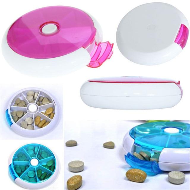 Tygodniowe obrotowe pudełko na pigułki na tabletki w podróży przypadku Splitter pojemnik na leki apteczka 7 dni przecinarka do tabletek Tablet pojemnik na pigułki