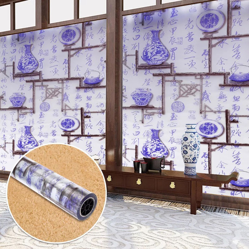 Chinese style Stained glass stickers Frosted decorative film Self-adhesive Window Home Decor kitchen Tea room 45/60*500cm