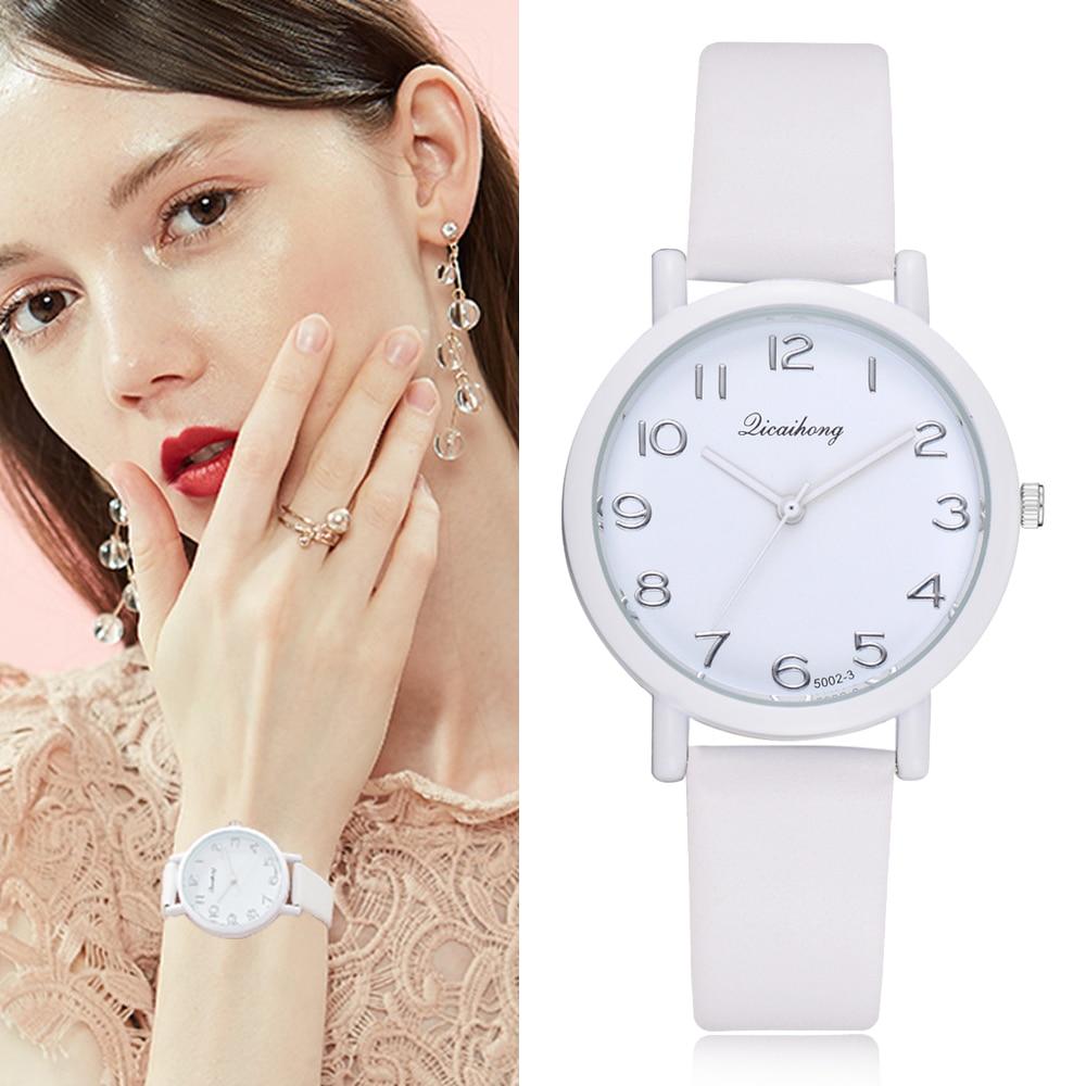 Women Brand Leather Watches Dress Bracelet Fashion Mint White Macaron Simple Wri