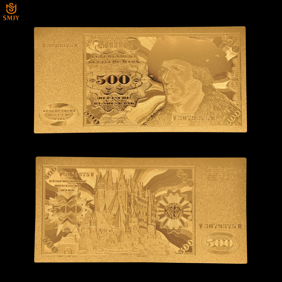 1960 hediyelik eşya alman para kağıt 500 Reichs işareti kaplama 24k altın folyo banknot Bill not
