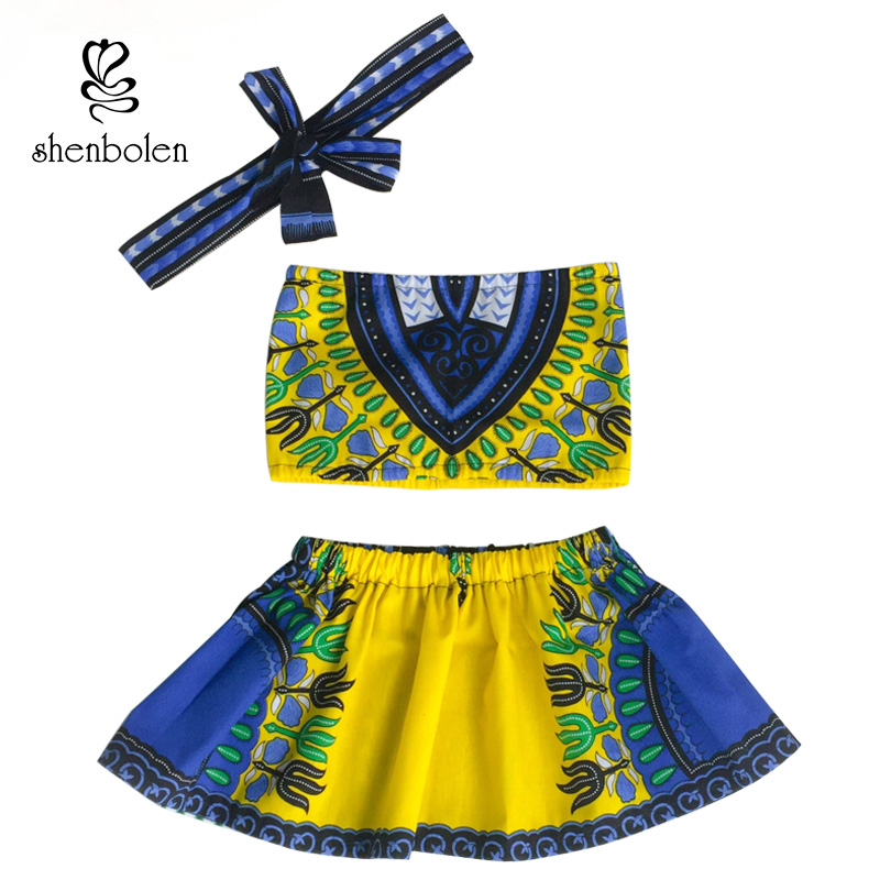 African Kids Clothes Cotton Material Top+ Skirt +Headband Set African Kids Clothes Dashiki Clothes African Fashion Kids Clothes