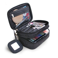 Portable Cosmetic Bags Makeup Bag Women Double Layers Travel Organizer Korean Fashion Make Up Case With