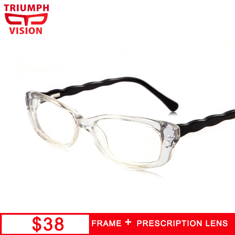TRIUMPH VISION Female Transparent Wave Design Spectacles Small Oval Prescription Diopter Glasses for women Astigmatic Eyewear