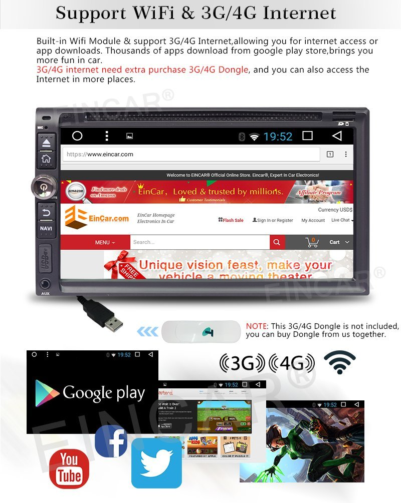 US $199 99  4G Dongle Included Android6 0 Mashmallow Car Stereo Autoradio  Support Internet Service With 6 95Inch Multi Touch Screen With Dvd-in Car