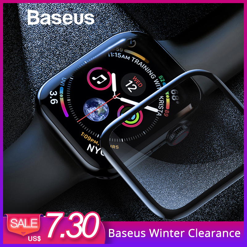 Baseus 0,3mm de vidrio Protector para Apple reloj 4 la cobertura completa de vidrio templado para iWatch 4 Protector de pantalla a prueba de arañazos película 9 H