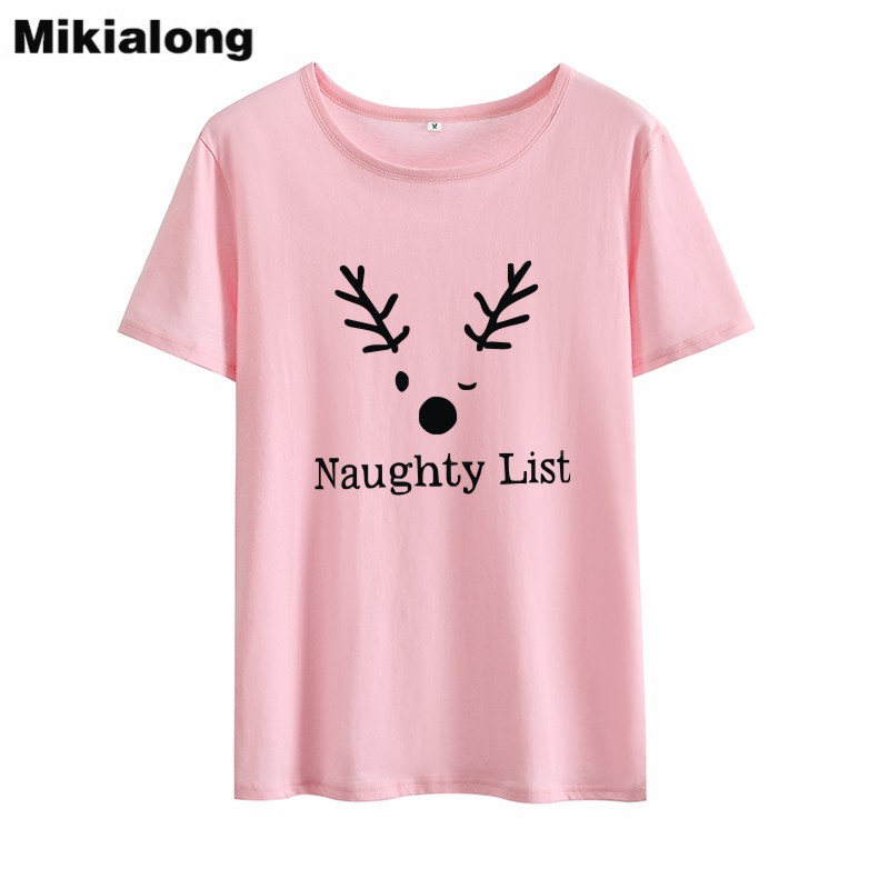 Mikialong Cartoon Deer Naughty List Graphic Funny T Shirts Women 2018 Short Sleeve Loose Tshirt Women Black White Cotton Tops