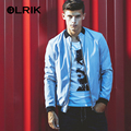 OLRIK 2016 Autumn Mens Aviator Jacket Brand Men Bomber Jacket Coat Casual Thin Overcoat M-5XL Outerwear Manteau Homme