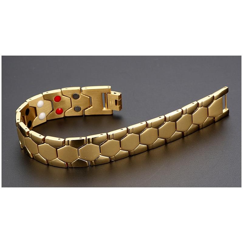 MADALENA SARARA Titanium Steel Bracelet Magnetic Germanium Stone Inlaid Football Print Style Men Energy Bracelet in Chain Link Bracelets from Jewelry Accessories