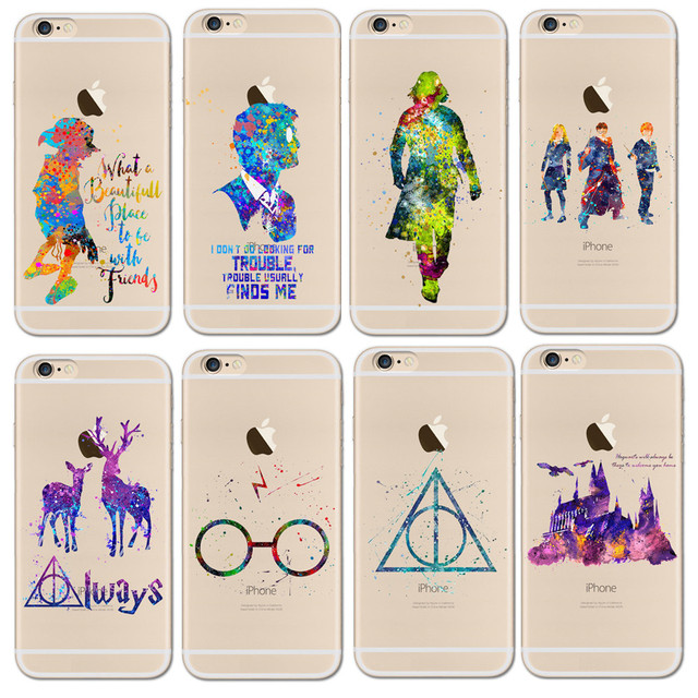 wholesale dealer 8b755 7c578 US $1.24 30% OFF|Watercolor Harry Potter Hogwarts Castle deer bird magic  Case For iphone 6 6s Transparent Silicon Protective Phone Cases Cover-in ...