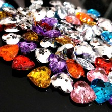 HL 13MM Heart Acrylic Buttons Flatback 2 Holes Apparel Bags Shoes Sewing Accessories DIY Crafts 50pcs/package