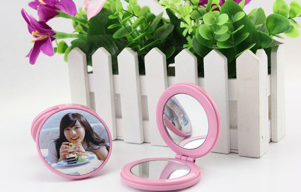 50 комплектов красочных карманных зеркал с двойной боковой кнопкой 75 мм, чистое зеркало с кнопками