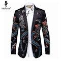 Troilus Men Coats And Blazers 2016 Royal Brand Chinese Dragon Print Blazer Men Vintage Suit Jacket Mens Stage Wear Prom Dresses