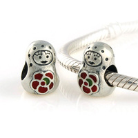Authentic 925 Sterling Silver Russian Girl Doll Roly-Poly Gift Bead fit European Beads Charms Pandora Bracelets Jewelry