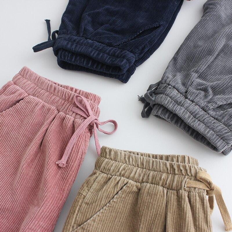 Pantalones de pana de invierno nuevo suelta versión coreana de la retro de terciopelo de las mujeres coreanas Lunan Pantalones