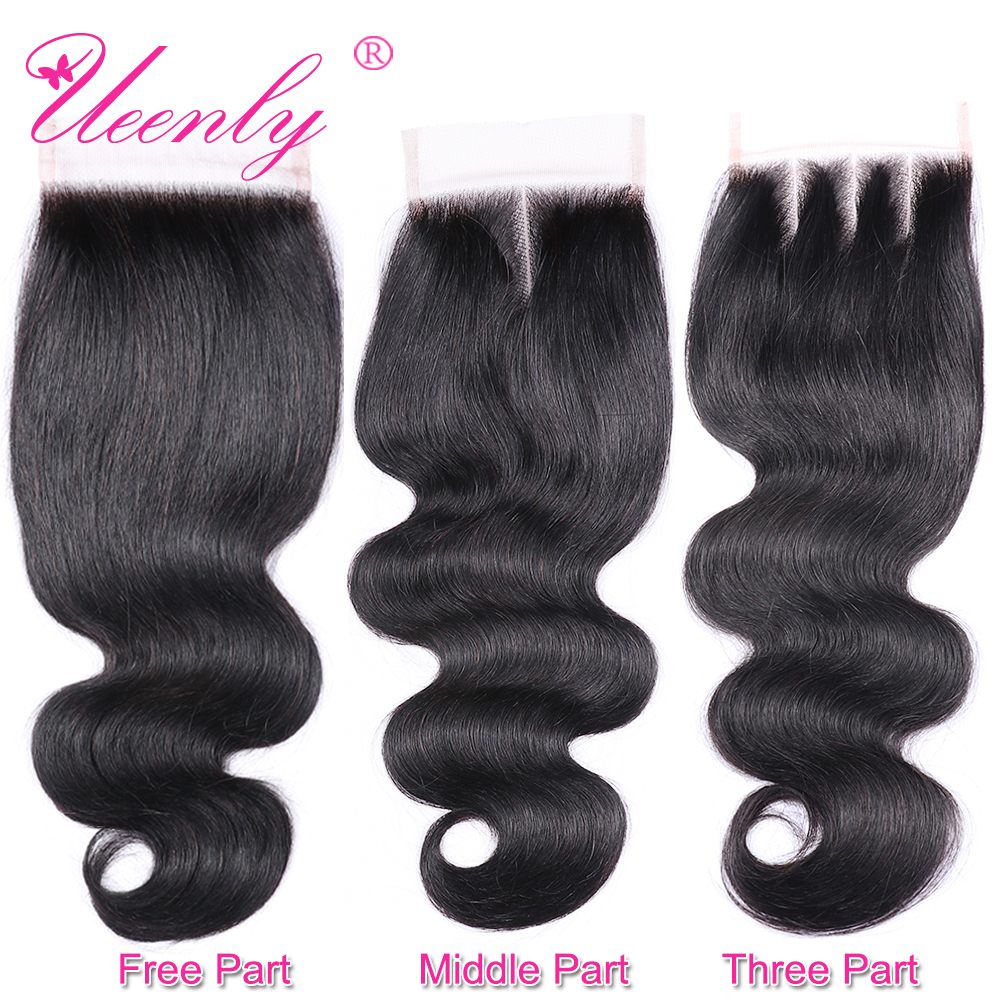 UEENLY Body-Wave Lace Closure Human-Hair Remy Natural-Color Brazilian 10pcs/Lot Middle/free/Three-part
