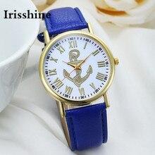 Z720 Irisshine Mulheres relógios senhora menina do presente da marca Algarismos Romanos das Mulheres Barco Âncora Faux Couro Analógico Relógio de Quartzo por atacado