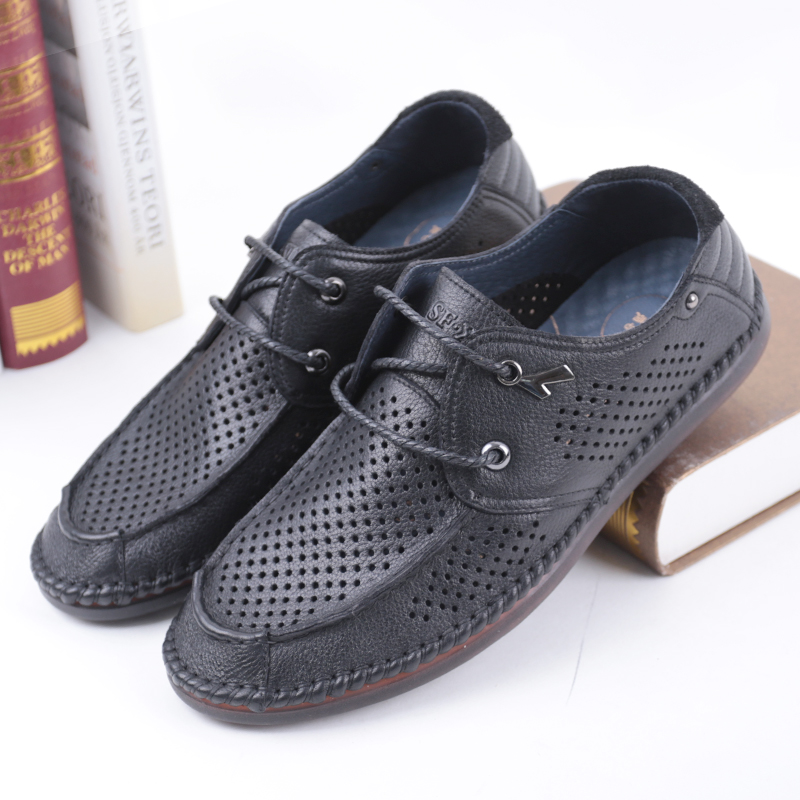 SHUANGFENG Genuine Leather Summer Breathable Hole Soft Male Shoes For Men Adult Walking Casual Shoes Men's Footwear 2018 loafers vesonal winter fur male shoes for men loafers adult business casual brand high quality genuine leather footwear man walking