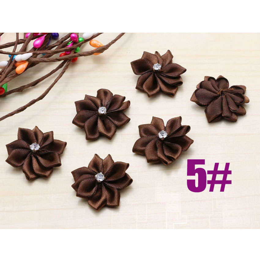 DIY 50PCS new Satin Ribbon Flower with Crystal Bead Appliques~Craft/Trim dark brown For Kids Hair Accessories Free shipping