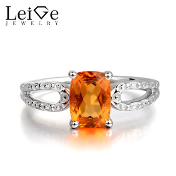 Leige Jewelry Natural Citrine Yellow Color Gemstone Cushion Cut Wedding Rings Romantic Gifts 925 Sterling Silver