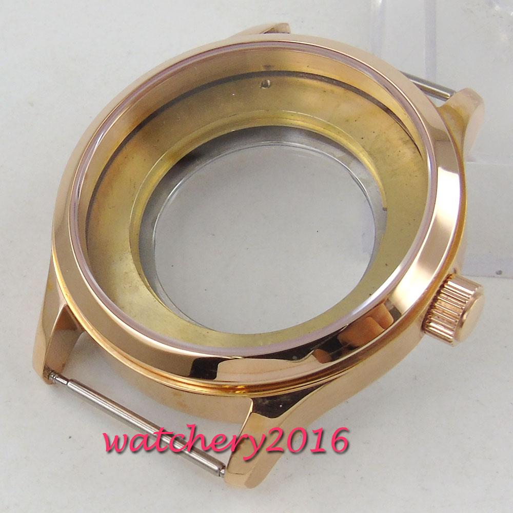 40mm PARNIS Sapphire Glass Steel Rose Golden Watch Case eta 2836 Miyota 8205 8215 Movement