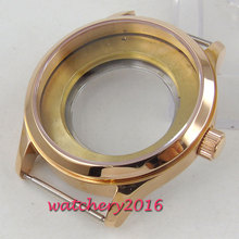 40mm PARNIS Sapphire Glass Steel Rose Golden Watch Case eta 2836 Miyota 8205 8215 Movement