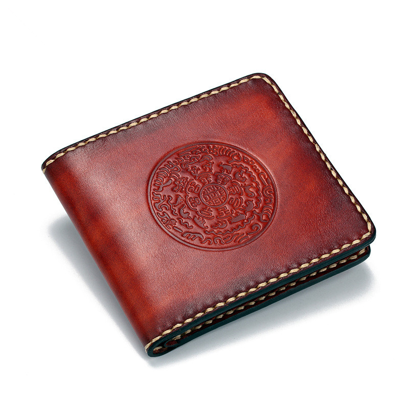 Boyfriend Father Gift Short Cow Leather Wallets Embossing Fold Bag Purses Men Clutch Vegetable Tanned Leather Wallet Card Holder original projector lamp bulb 311 8943 for 1510x