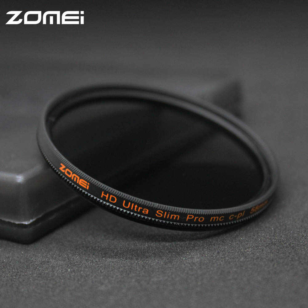 Zomei 49/52/55/58/62/67/72/77/82mm CPL Polarizer Filter Slim Pro HD MC Circular Polarizing Filter untuk Canon Nikon Sony Pentax